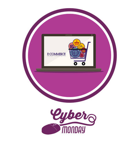 retail display: Cyber Monday concept with ecommerce icons design, vector illustration eps 10
