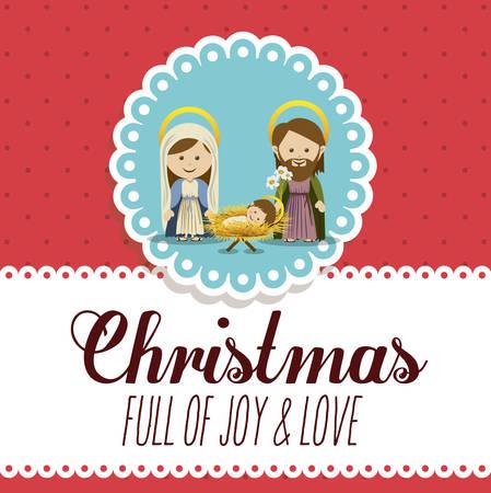 pesebre: Concepto Feliz Navidad con el dise�o de los iconos de decoraci�n, ilustraci�n vectorial Vectores