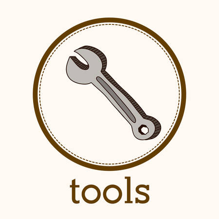 reconstruction: Tools concept over simple circle design, vector illustration  Illustration
