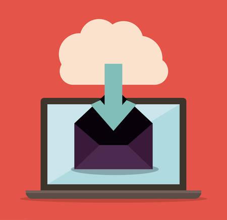 value system: Data base concept and cloud computing design, vector illustration