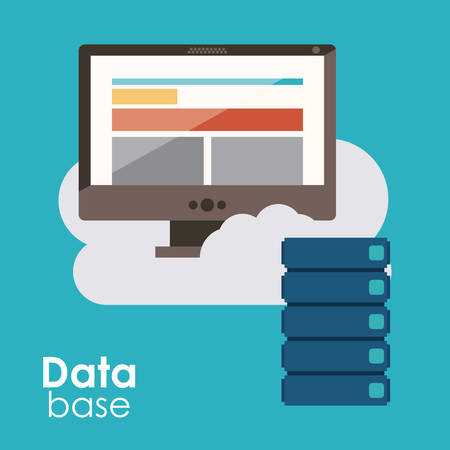 value system: Data base concept and cloud computing design, vector illustration