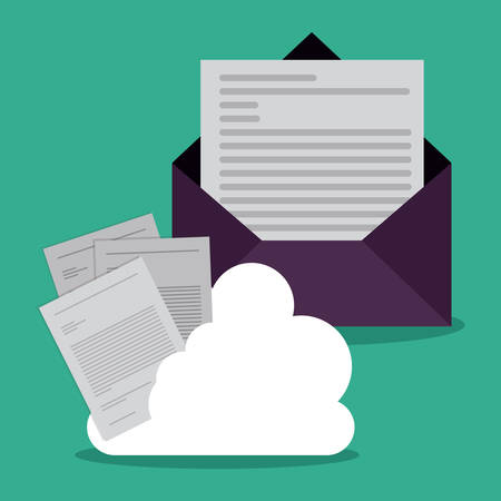 Data base concept and cloud computing design, vector illustration
