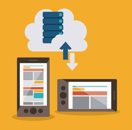 defence: Data base concept and cloud computing design, vector illustration Illustration