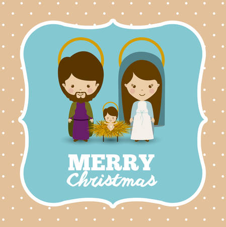 familia cristiana: Concepto Feliz Navidad con el diseño de los iconos de decoración, ilustración vectorial Vectores