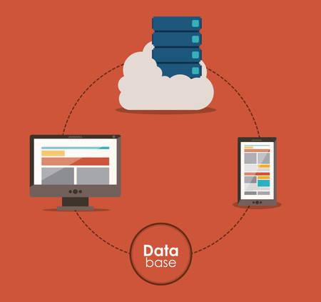 data base: Data base concept and cloud computing design, vector illustration