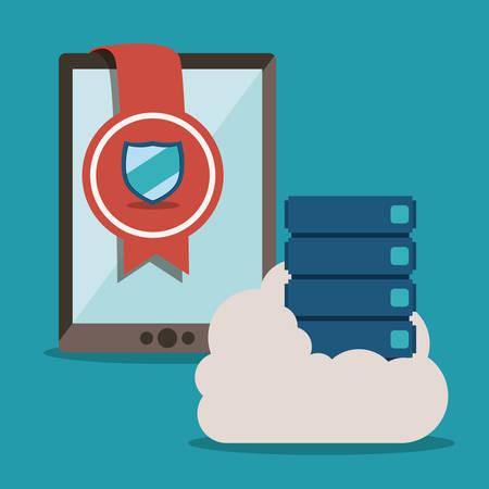 value system: Data base concept and cloud computing design, vector illustration Illustration