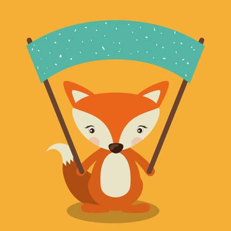 zorro: Concepto de animales poco sobre diseño lindo zorro, ilustración vectorial eps 10