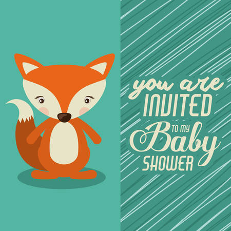 sweet background: Baby Shower  concept with cute animals design, vector illustration eps 10