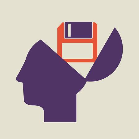 brain illustration: Brain concept with human head design, vector illustration eps 10 Illustration