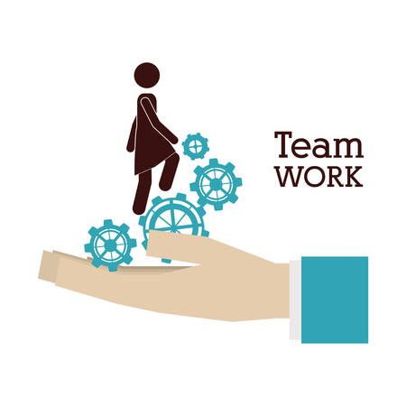 creativity and innovation: Teamwork concept with pictogram design, vector illustration eps 10