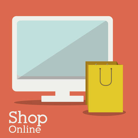 retail display: Shopping online concept with computer design, vector illustration eps 10