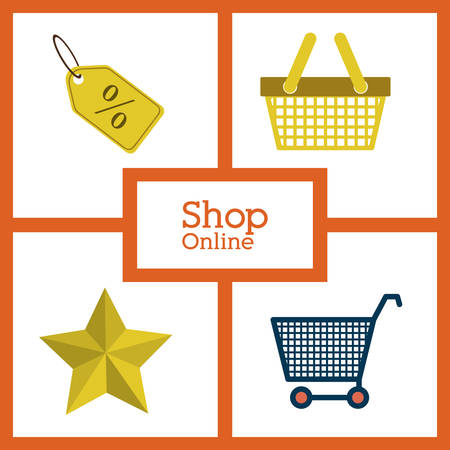 retail display: Shopping online concept with store icons design, vector illustration eps 10