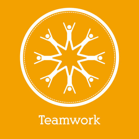 work team: Teamwork concept with pictogram design, vector illustration eps 10