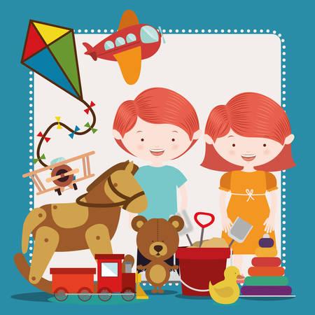 cartoon wood bucket: toys kids design, vector illustration  graphic