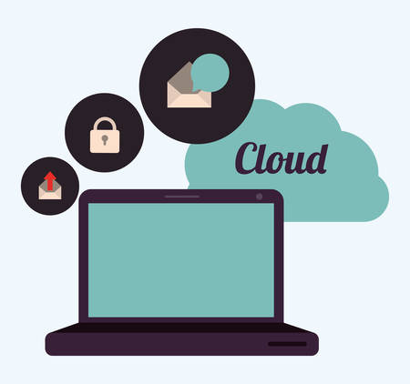 protected database: cloud computing design, vector illustration  graphic
