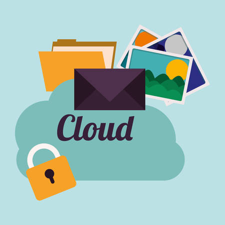 protected database: cloud computing design, vector illustration