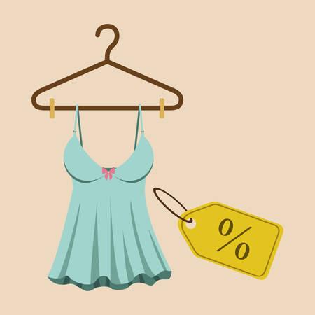 ropa colgada: La compra de productos de diseño, ilustración vectorial gráfico eps10