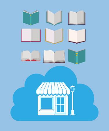 e reader: online bookstore design, vector illustration eps10 graphic Illustration
