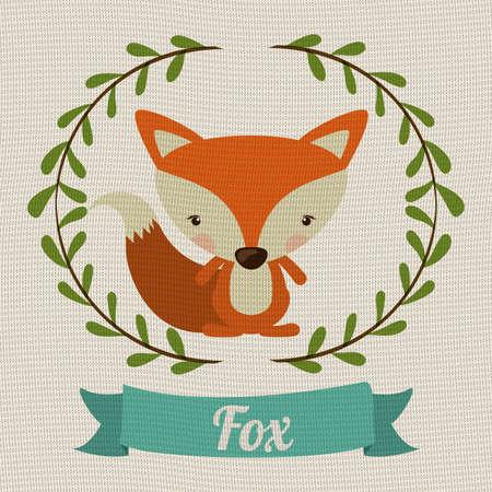 zorro: Concepto de animales poco sobre dise�o lindo zorro, ilustraci�n vectorial
