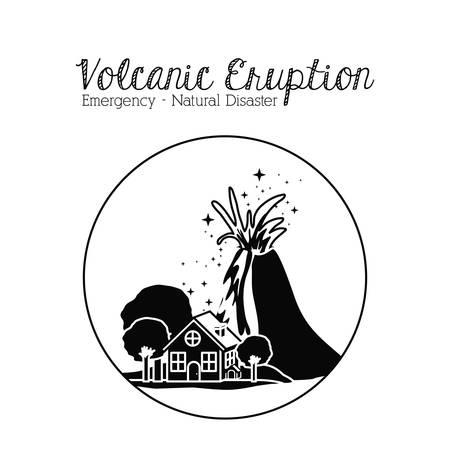 volcano mountain erupting: natural disaster design, vector illustration graphic Illustration