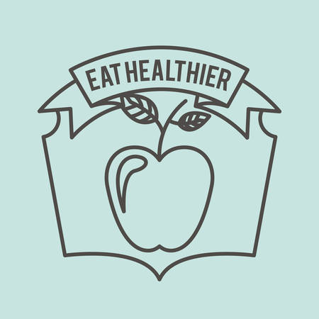 healthier: eat healthier design, vector illustration graphic