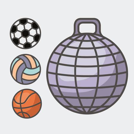 balon voleibol: diseño de estilo de vida saludable, ilustración vectorial gráfico Vectores