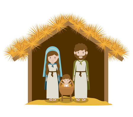 nativity scene: Merry Christmas concept with decoration icons  design, vector illustration