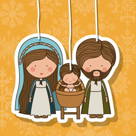 sacra famiglia: Concetto di Buon Natale con la decorazione icone progettazione, illustrazione vettoriale