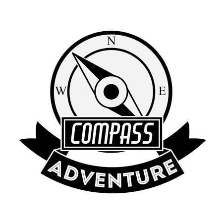 black compass concept over white background design, vector illustration