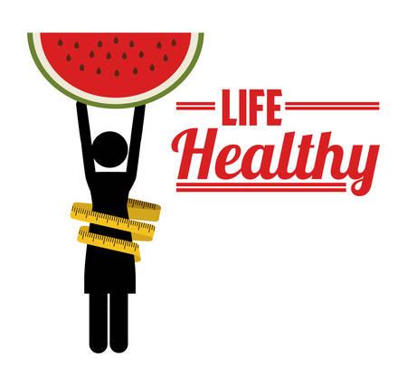 watermelon woman: life healthy design, vector illustration graphic
