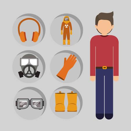 diseño de seguridad industrial, ilustración vectorial gráfico