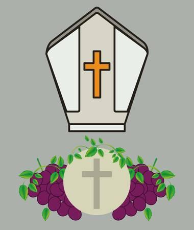 sacerdote: diseño de la religión católica, ilustración vectorial gráfico