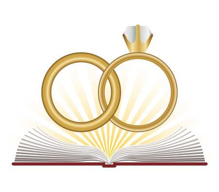 wedding rings: catholic religion design, vector illustration graphic Illustration