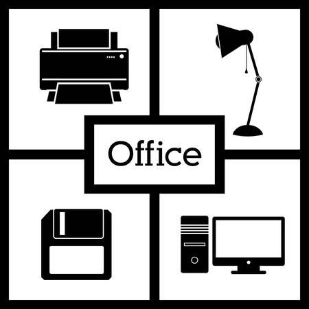 desktop printer: office supplies design, vector illustration eps10 graphic