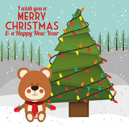 oso de peluche: dise�o feliz navidad feliz, ejemplo gr�fico vectorial eps10