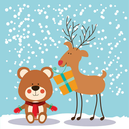 teddy bear christmas: happy merry christmas design, vector illustration eps10 graphic
