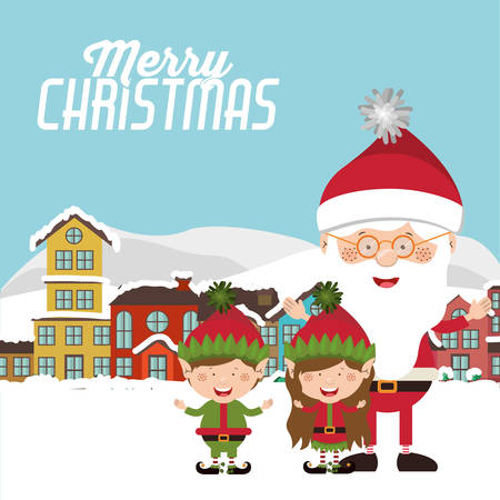 elf's: happy merry christmas design, vector illustration eps10 graphic