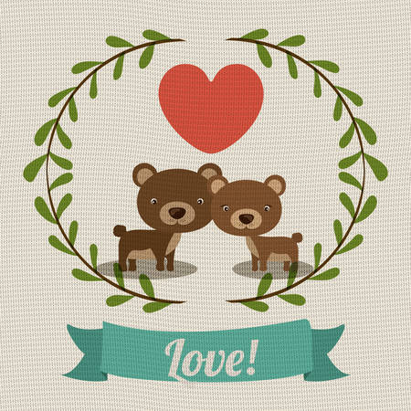 teddy wreath: love card design, vector illustration eps10 graphic Illustration