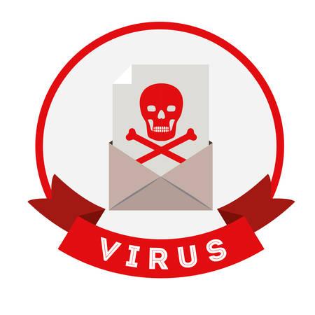 alert ribbon: virus protection design, vector illustration eps10 graphic