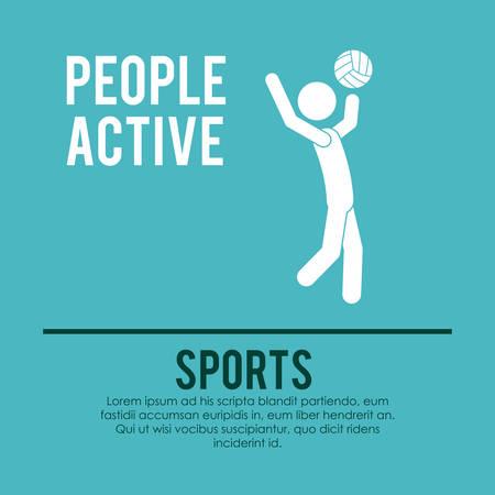 balon voleibol: la gente de diseño activo, ejemplo gráfico del vector eps10
