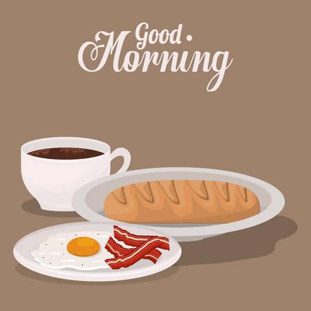 bacon and eggs: good morning breakfast design, vector illustration eps10 graphic Illustration