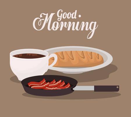 bacon art: good morning breakfast design, vector illustration eps10 graphic Illustration