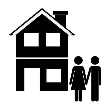 happy couple house: happy family design illustration graphic