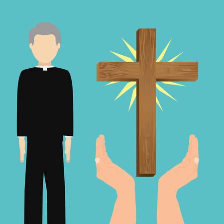 sacerdote: Diseño de la religión católica, ilustración vectorial gráfico eps10