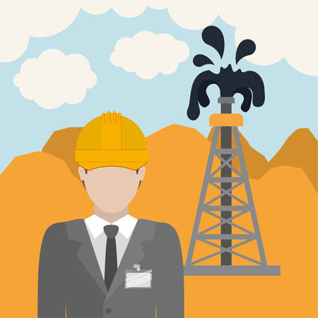 refinery engineer: oil and petroleum industry design, vector illustration eps10 graphic