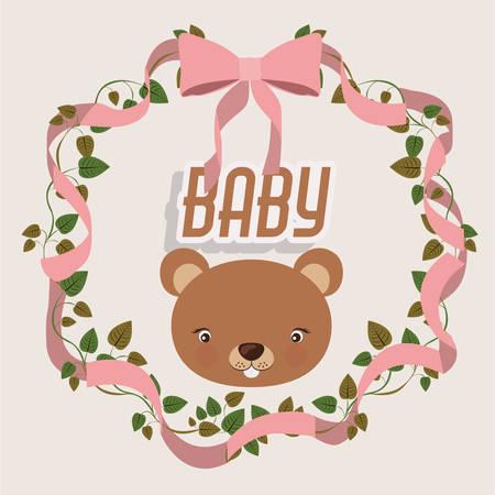 teddy wreath: baby shower invitation design, vector illustration eps10 graphic