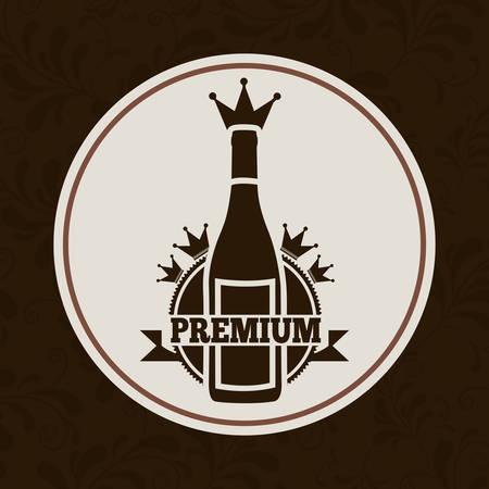 bouteille de vin: boisson menu design, illustration graphique eps10