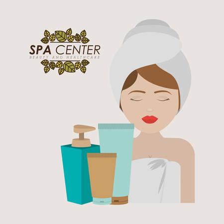 cremas faciales: diseño de centro de spa, ilustración vectorial gráfico eps10