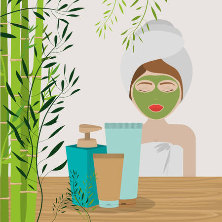harmony nature: spa center design, vector illustration eps10 graphic