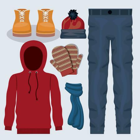 ropa de invierno: ropa de invierno Ilustración de diseño gráfico